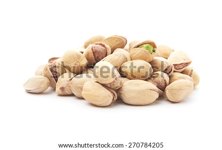 Heap of pistachios nuts isolated on the white - stock photo