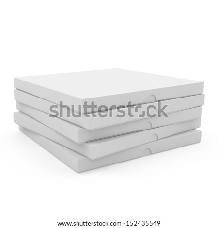 Heap of pizza boxes isolated on white background
