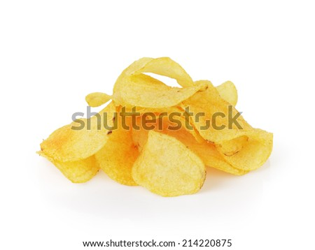 heap of potato chips with paprika, isolated on white - stock photo