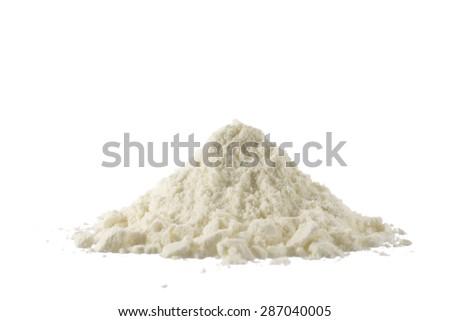 Heap of powdered organic milk isolated on white background - stock photo