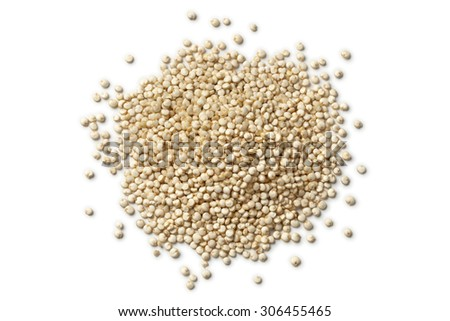 Heap of raw Quinoa seeds on white background