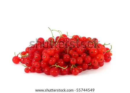 Heap of red currants, isolated on white background