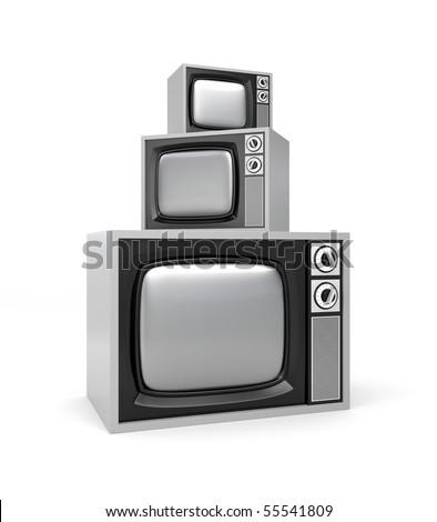 Heap of retro tv - stock photo