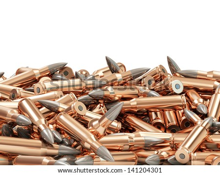 Heap of Rifle Bullets isolated on white background with place for Your text - stock photo