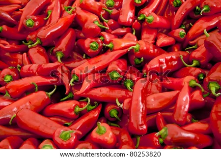 Heap Of Ripe Big Red Peppers At A Street Market In Istanbul, Turkey.  Carsamba Fatih Pazari (Bazaar) - stock photo