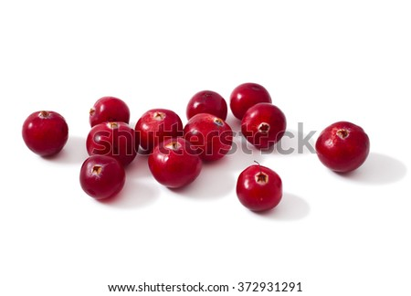 heap of ripe cranberries isolated on white background  - stock photo