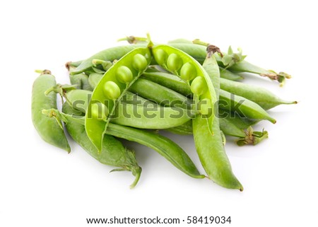 Heap of ripe pea vegetable isolated on white background