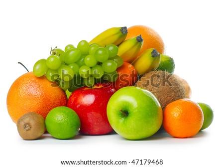 Heap of ripe tropical fruits - stock photo