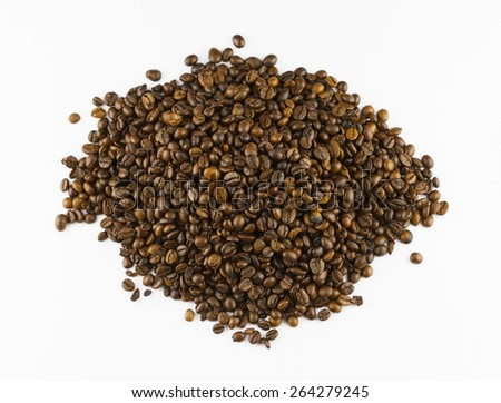 Heap of roasted coffee beans isolated on white background - stock photo