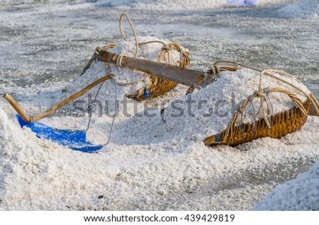 Heap of sea salt on the hod for harvest into barn at salt field in Samut Songkhram province, Thailand. Selective Focus. - stock photo