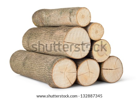 Heap of several logs. Isolated on a white. - stock photo
