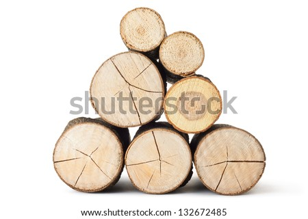 Heap of several logs. View at saw cut. Isolated on a white. - stock photo