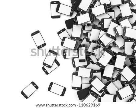 Heap of Smart Phones with Blank Screens isolated on white background with place for your text - stock photo