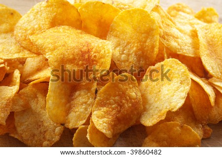 Heap of spicy potato chips.