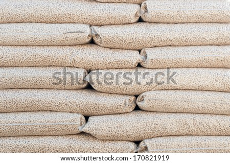 Heap of stacks of Pine pellets - stock image - stock photo