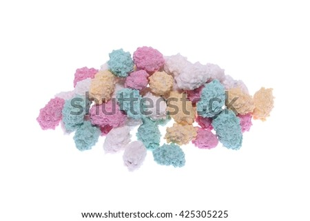 Heap of sugar coated peanuts isolated on white - stock photo