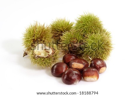 Heap of sweet chestnuts with capsules on bright background - stock photo