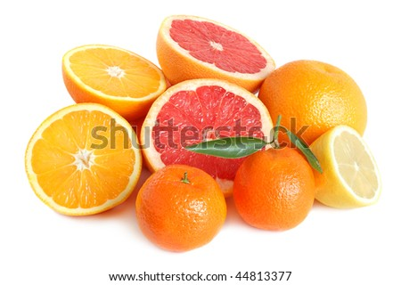 Heap of sweet citrus on white background - stock photo