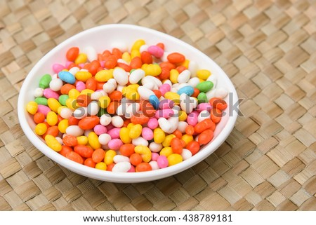 Heap of sweet colorful traditional Jerraka mithai / Candied cumins / mukhwas  Kerala, India. after-dinner mouth freshener with Indian food. Sugar coated Indian Sweets   - stock photo