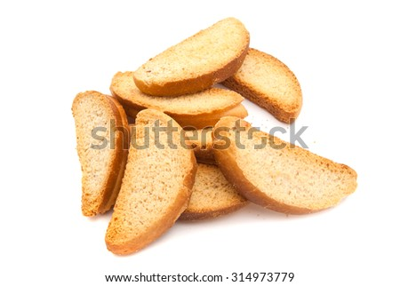 heap of sweet crackers on white background closeup - stock photo