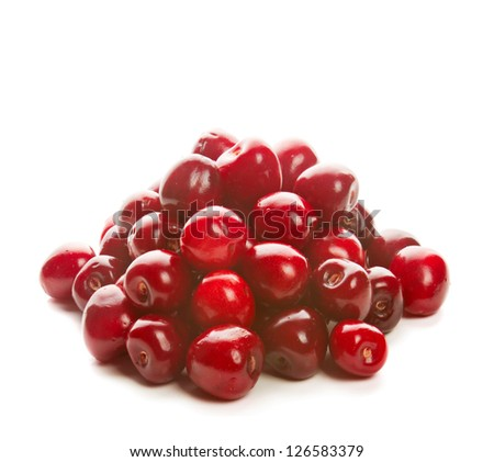 Heap of sweet shiny cherries, isolated on white - stock photo