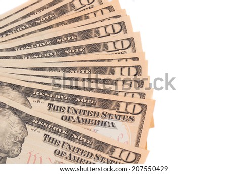 Heap of ten dollar bills. Whole background. - stock photo