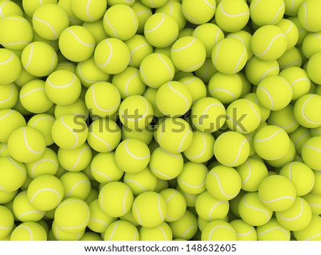 Heap of tennis balls isolated on white background