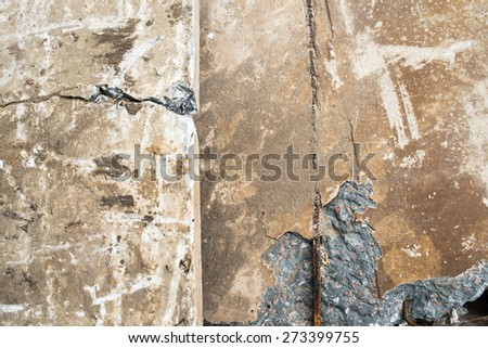 Heap of the damaged concrete blocks. Close up. - stock photo