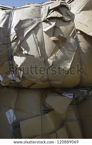 Heap of thrown cardboard boxes - stock photo