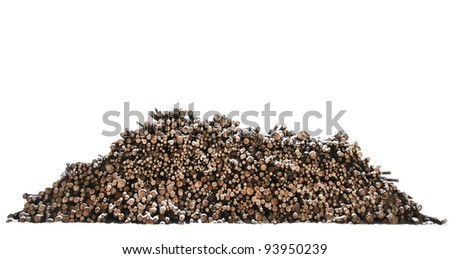 Heap of timber in snow isolated on white - stock photo