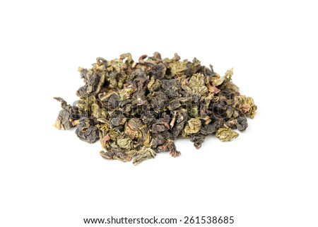 Heap of traditional Chinese green oolong tea isolated on white background, top view, selective focus with shallow DOF - stock photo