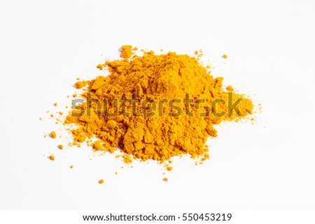 Heap of turmeric. Isolated on white.