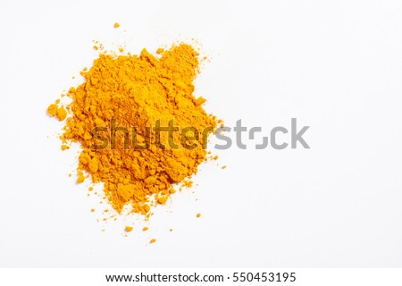 Heap of turmeric. Isolated on white. Empty space for text or inscription. Top view.