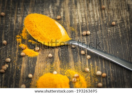 Heap of turmeric on a metal spoon over wooden background - stock photo