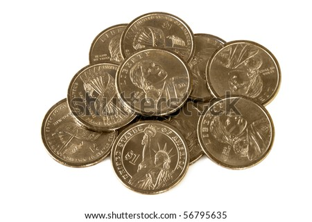 Heap of US dollar coins, isolated on white. - stock photo