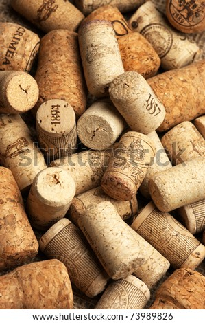 Heap of used vintage wine corks close-up. - stock photo