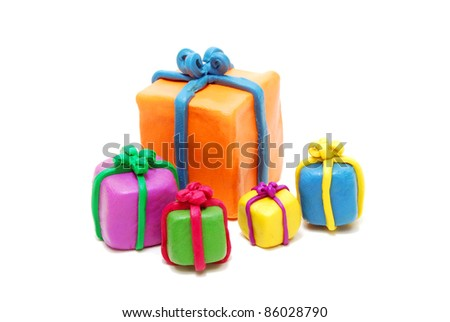 Heap of Various Multi Colored New Year Gifts Isolated on White Background - stock photo