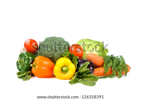 heap of vegetables isolated on white background - stock photo