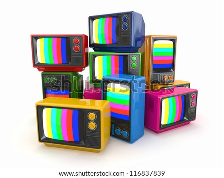 Heap of vintage tv. End of television. Conceptual image. 3d - stock photo