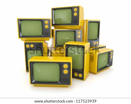 Heap of vintage tv on white background. 3d - stock photo