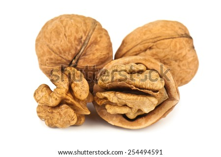 heap of walnut on white background - stock photo