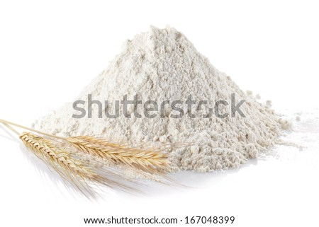 Heap of wheat flour and wheat ears on isolated white background - stock photo