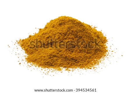 Heap of yellow turmeric powder on white background