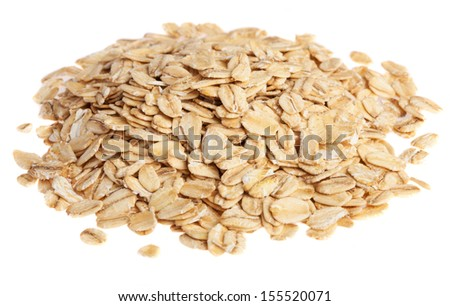 heap os oats on a white background - stock photo