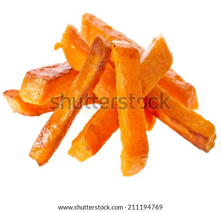 Heap Pile of Fried Sweet Potatoes close up isolated on white background - stock photo