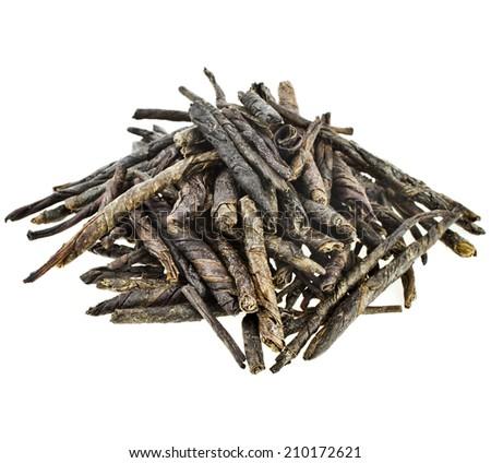 Heap pile of Kuding Tea isolated on white background - stock photo
