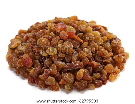 Heap raisin dried fruit isolated on white - stock photo