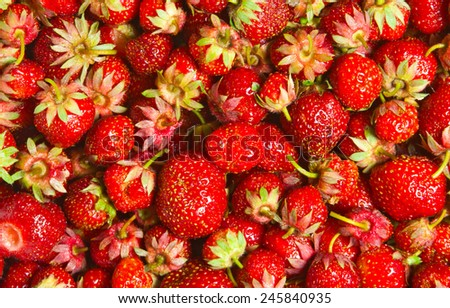 heap red strawberries, tasty background - stock photo
