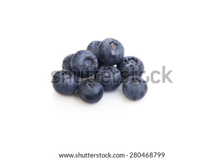 heap ripe sweet blueberries isolate on white - stock photo