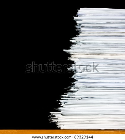 heap, stack of documents or files, overload of paperwork on black background